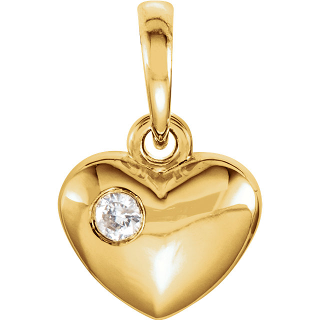 Genuine  14 Karat Yellow Gold .03 Carat Diamond Heart Pendant