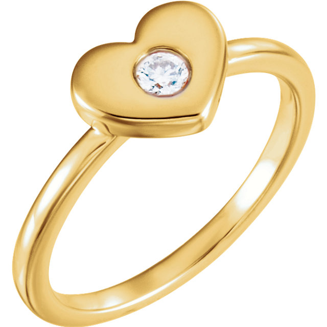 14 Karat Yellow Gold .03 Carat Round Genuine Diamond Heart Ring