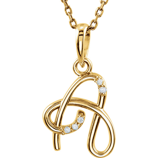 Low Price on Quality 14 KT Yellow Gold .03 Carat TW Diamond Letter