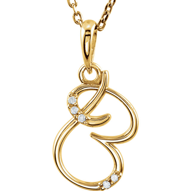 Perfect Gift Idea in 14 Karat Yellow Gold .03 Carat Total Weight Diamond Letter