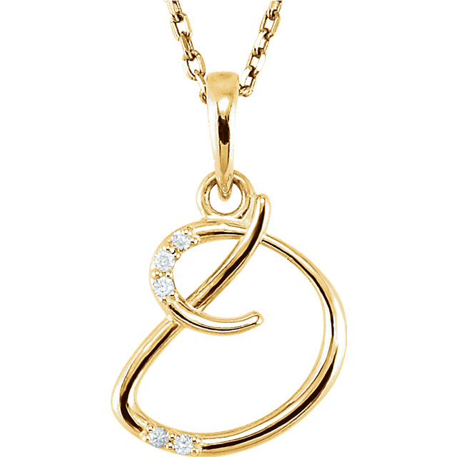 Contemporary 14 Karat Yellow Gold .03 Carat Total Weight Diamond Letter