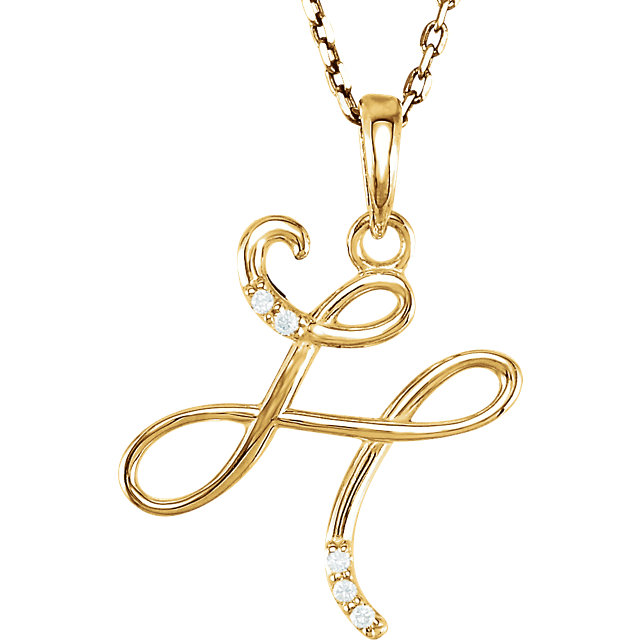 Perfect Jewelry Gift 14 Karat Yellow Gold .03 Carat Total Weight Diamond Letter