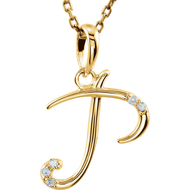 14 Karat Yellow Gold .03 Carat Diamond Letter