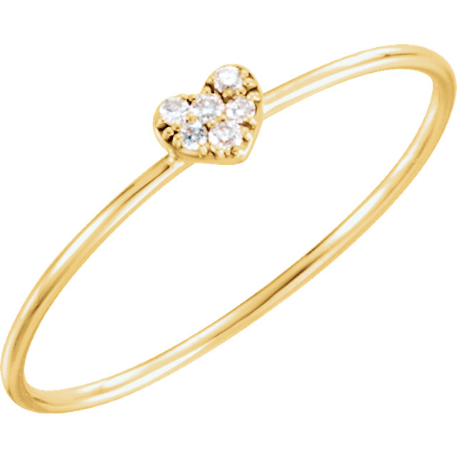 Shop 14 KT Yellow Gold .03 Carat TW Diamond Petite Heart Ring