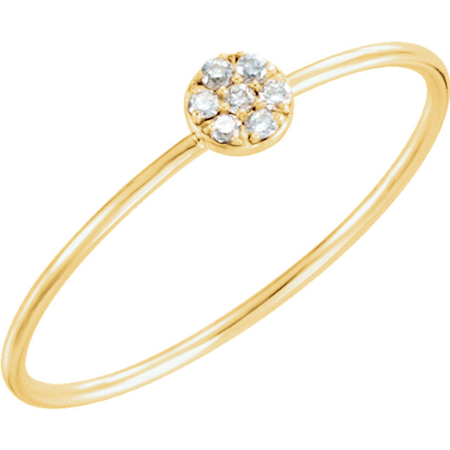 Genuine  14 KT Yellow Gold .04 Carat TW Diamond Petite Circle Ring