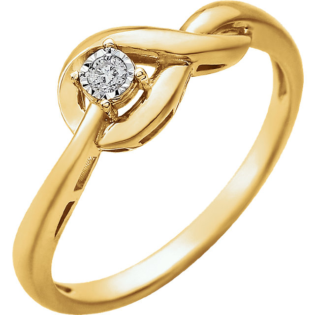 Genuine 14 Karat Yellow Gold .04 Carat Diamond Ring