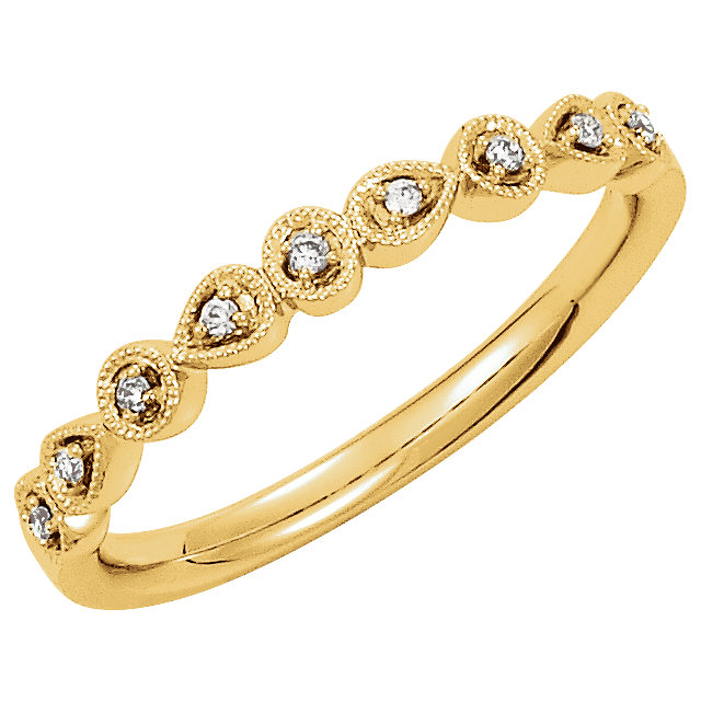 Genuine 14 KT Yellow Gold .04 Carat TW Diamond Ring Size 7