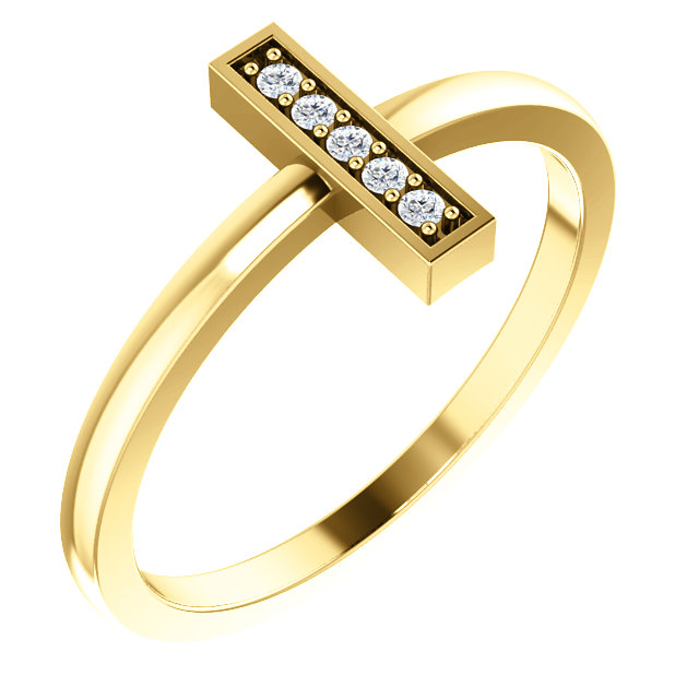 Genuine 14 KT Yellow Gold .05 Carat TW Diamond Bar Ring