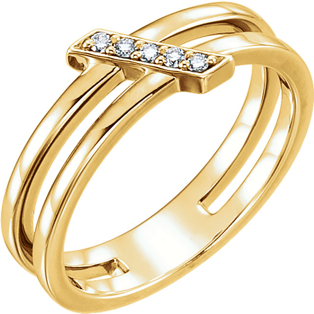 14 Karat Yellow Gold .05 Carat Diamond Bar Ring