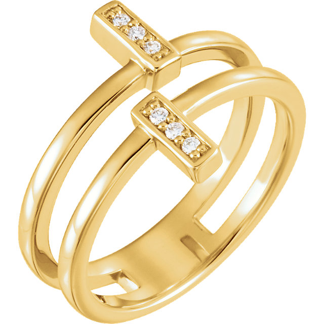 Shop Real 14 KT Yellow Gold .06 Carat TW Diamond Bar Ring