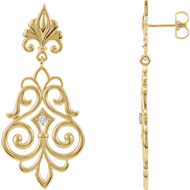 Great Deal in 14 Karat Yellow Gold .06 Carat Total Weight Diamond Decorative Dangle Earrings