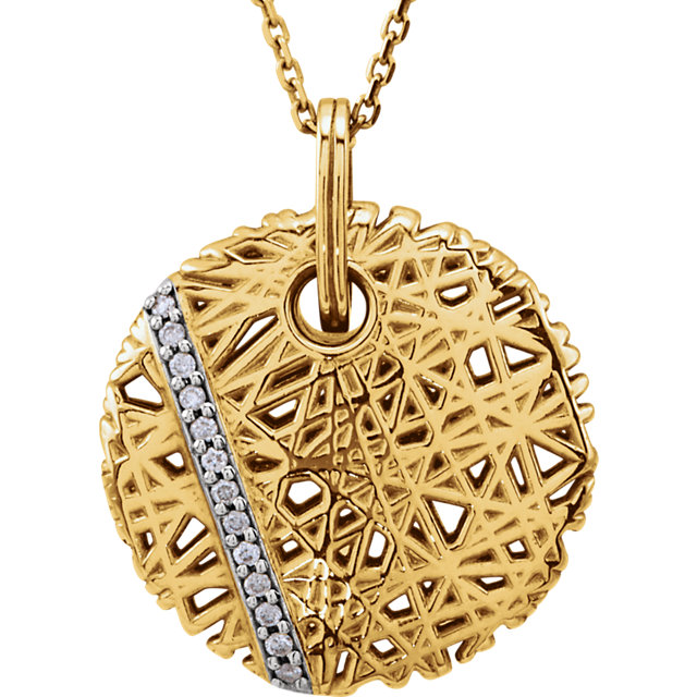 Eye Catchy 14 Karat Yellow Gold .06 Carat Total Weight Diamond Nest 18