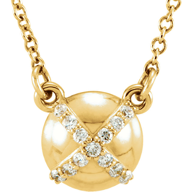Perfect Gift Idea in 14 Karat Yellow Gold .07 Carat Total Weight Diamond 16 0.50