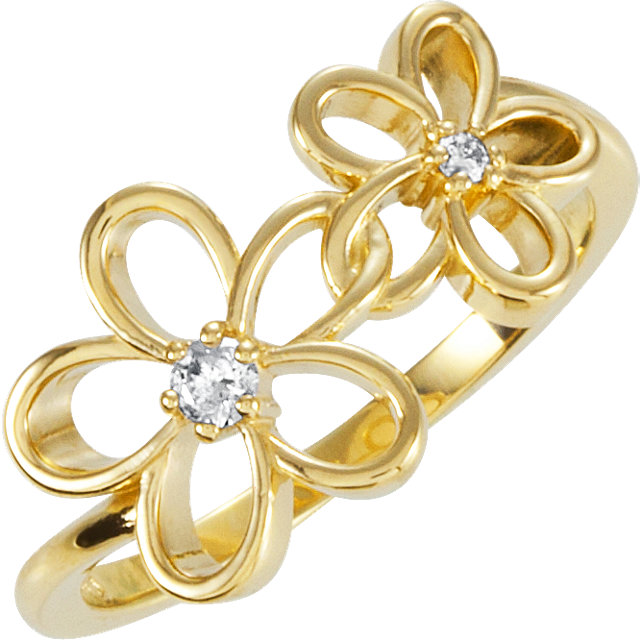 Contemporary 14 Karat Yellow Gold .07 Carat Total Weight Diamond Floral-Inspired Ring