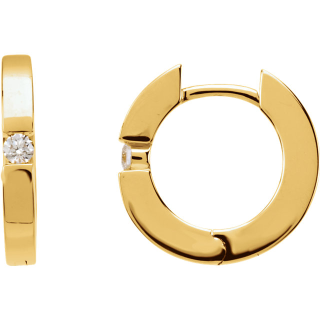 Great Buy in 14 Karat Yellow Gold .07 Carat Total Weight Diamond Hoop Earrings