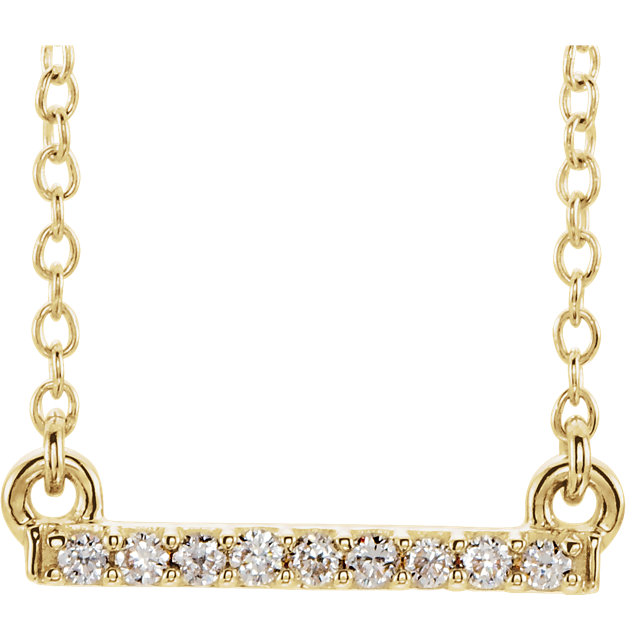 14 Karat Yellow Gold .07 Carat Petite Diamond Bar 16-18
