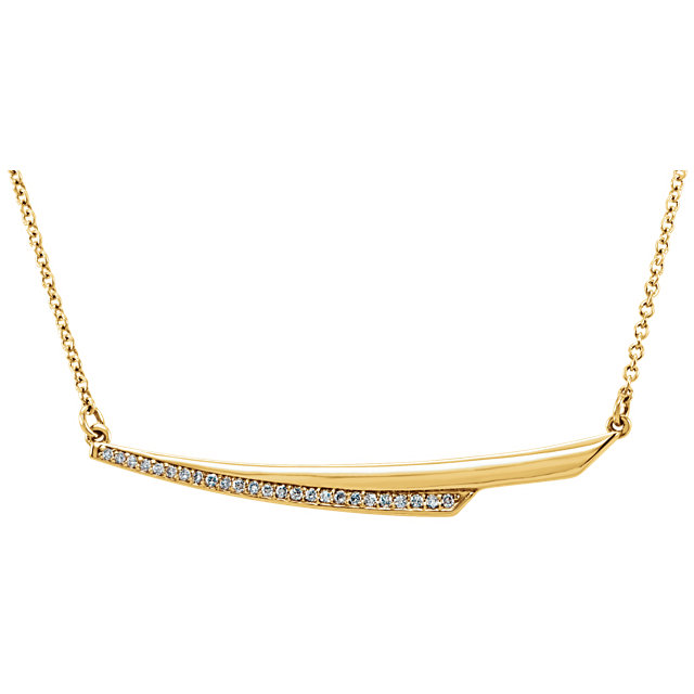 Shop 14 Karat Yellow Gold .08 Carat Diamond Bar 17.5