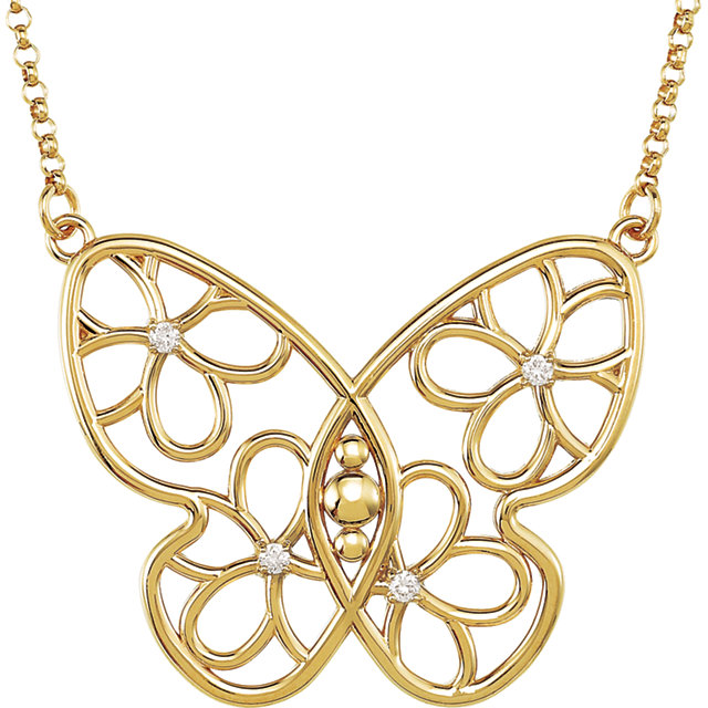 Fine Quality 14 Karat Yellow Gold .08 Carat Total Weight Diamond Butterfly & Floral-Inspired 18
