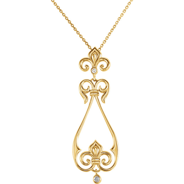 Appealing Jewelry in 14 Karat Yellow Gold .08 Carat Total Weight Diamond Fleur-de-Lis 18