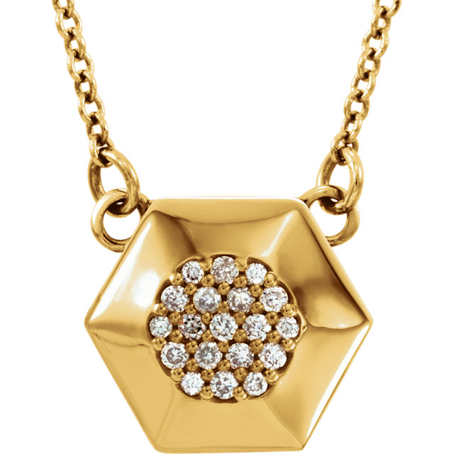 Eye Catchy 14 Karat Yellow Gold .08 Carat Total Weight Diamond Geometric 16.5