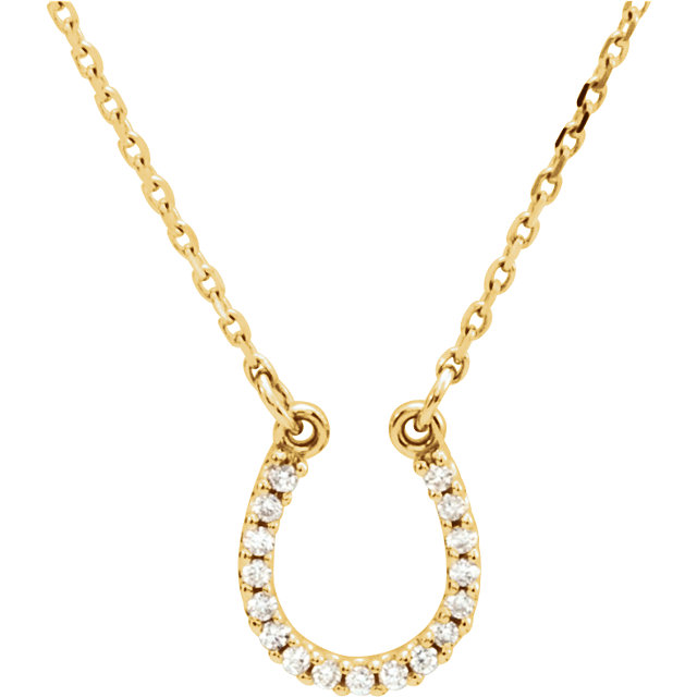 14 Karat Yellow Gold .08 Carat Diamond Horseshoe 16