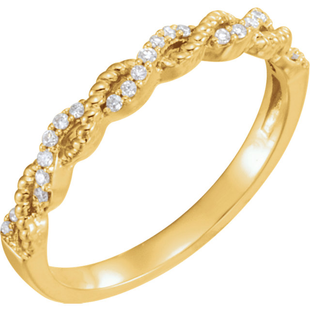Great Buy in 14 Karat Yellow Gold .08 Carat Total Weight Diamond Stackable Ring