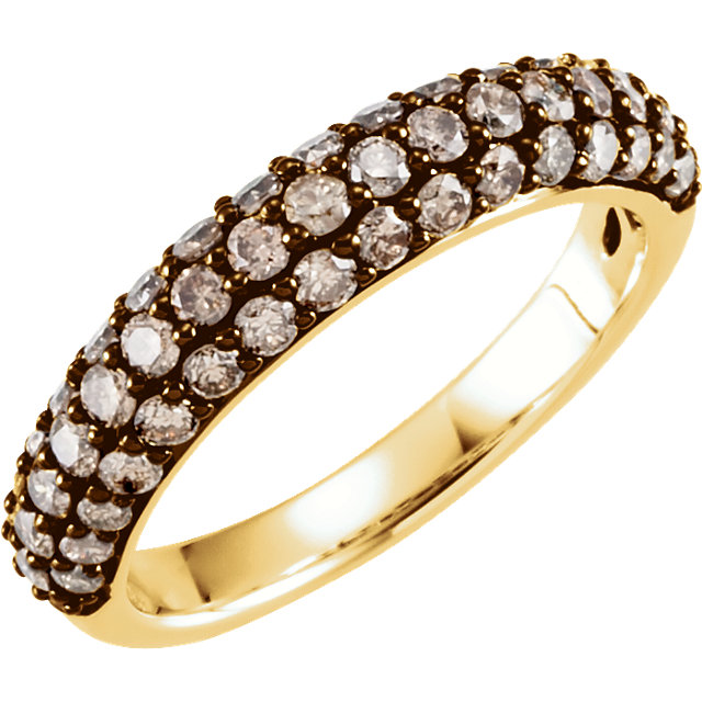 White Diamond Ring in 14 Karat Yellow Gold 1 1/6 Carat Brown Diamond Ring