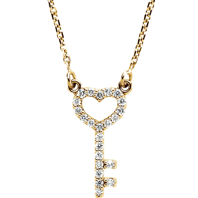 Perfect Jewelry Gift 14 Karat Yellow Gold 0.12 Carat Total Weight Diamond Petite Heart Key 16.5