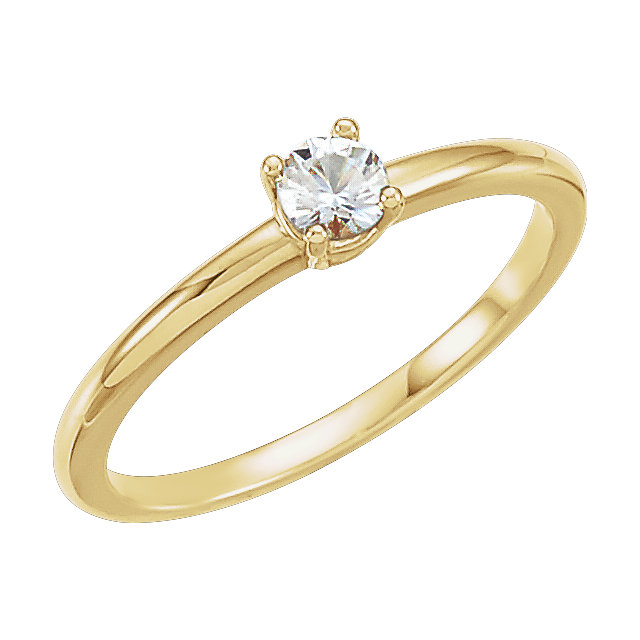 Fantastic 14 Karat Yellow Gold 0.10 Carat Total Weight Round Genuine Diamond