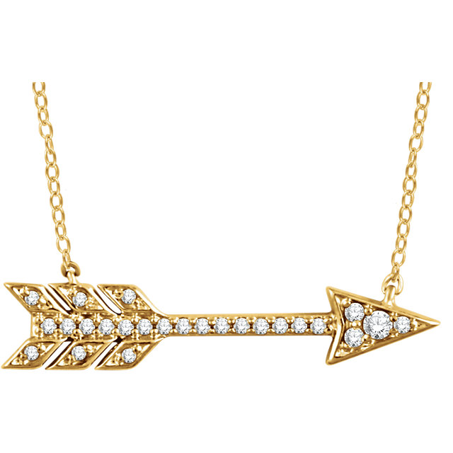 14 Karat Yellow Gold 0.10 Carat Diamond Arrow 18