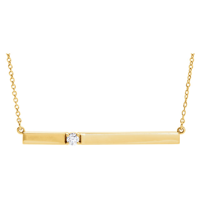 14 Karat Yellow Gold 0.10 Carat Diamond Bar 17.5