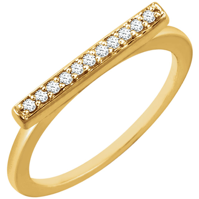 Shop Real 14 KT Yellow Gold 0.10 Carat TW Diamond Bar Ring