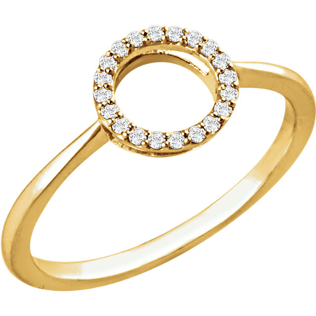 14 Karat Yellow Gold 0.10 Carat Diamond Circle Ring