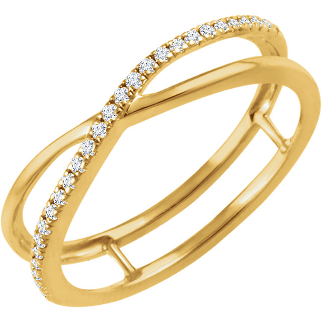 14 KT Yellow Gold 0.10 Carat TW Diamond Criss-Cross Ring