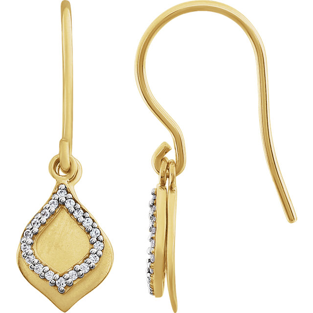 Stunning 14 Karat Yellow Gold 0.10 Carat Total Weight Diamond Earrings