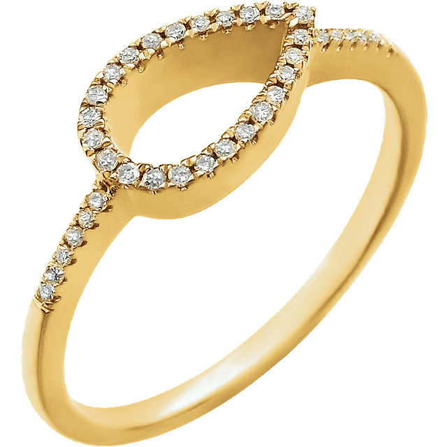 Contemporary 14 Karat Yellow Gold 0.10 Carat Total Weight Diamond Geometric Ring