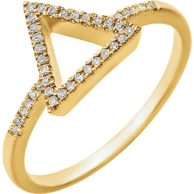 14 KT Yellow Gold 0.10 Carat TW Diamond Geometric Ring