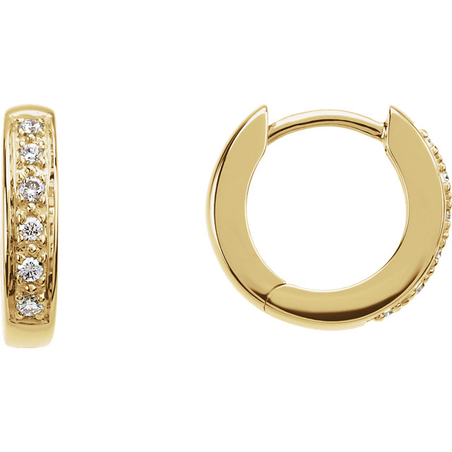 Beautiful 14 Karat Yellow Gold 0.10 Carat Total Weight Diamond Hoop Earrings