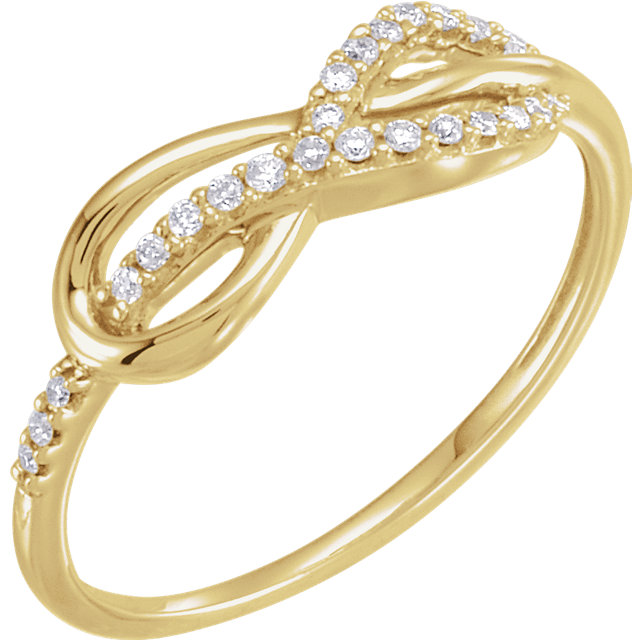 Must See 14 Karat Yellow Gold 0.10 Carat Total Weight Diamond Infinity-Inspired Knot Ring