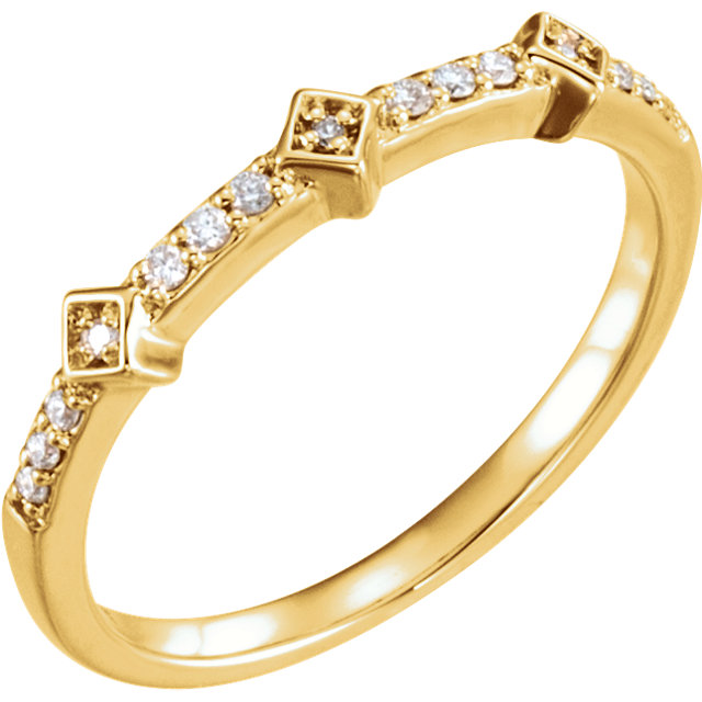 Must See 14 Karat Yellow Gold 0.10 Carat Total Weight Diamond Stackable Ring
