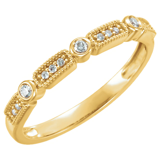 Great Gift in 14 Karat Yellow Gold 0.10 Carat Total Weight Diamond Stackable Ring