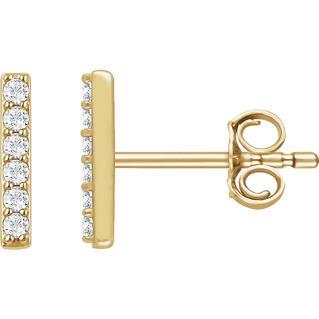 Stylish 14 Karat Yellow Gold 1/10 Carat Total Weight Round Genuine Diamond Vertical Bar Earrings
