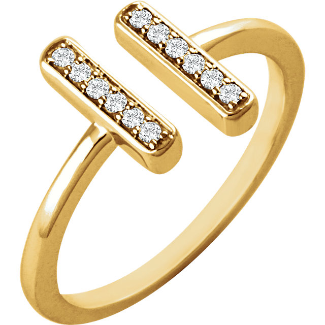 Low Price on Quality 14 KT Yellow Gold 0.10 Carat TW Diamond Vertical Bar Ring