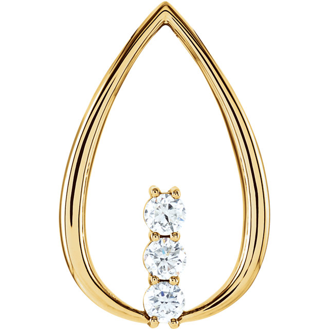 Fine Quality 14 Karat Yellow Gold 0.50 Carat Total Weight Diamond 3-Stone Freeform Pendant