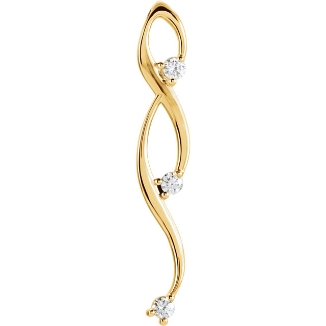Great Deal in 14 Karat Yellow Gold 0.50 Carat Total Weight Diamond 3-Stone Freeform Pendant