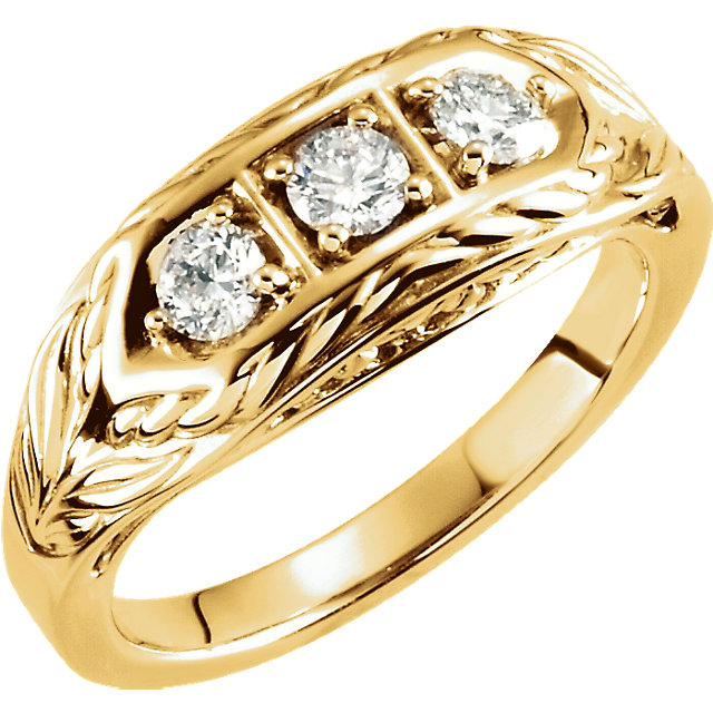 Buy Real 14 KT Yellow Gold 0.50 Carat TW Diamond 3-Stone Ring
