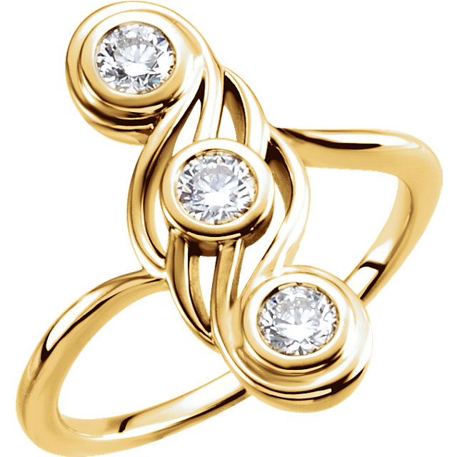 Perfect Gift Idea in 14 Karat Yellow Gold 0.50 Carat Total Weight Diamond Three-Stone Ring