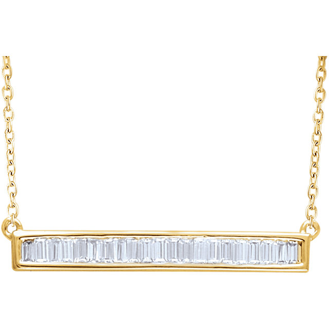 Easy Gift in 14 Karat Yellow Gold 0.50 Carat Total Weight Diamond Baguette Bar 16-18
