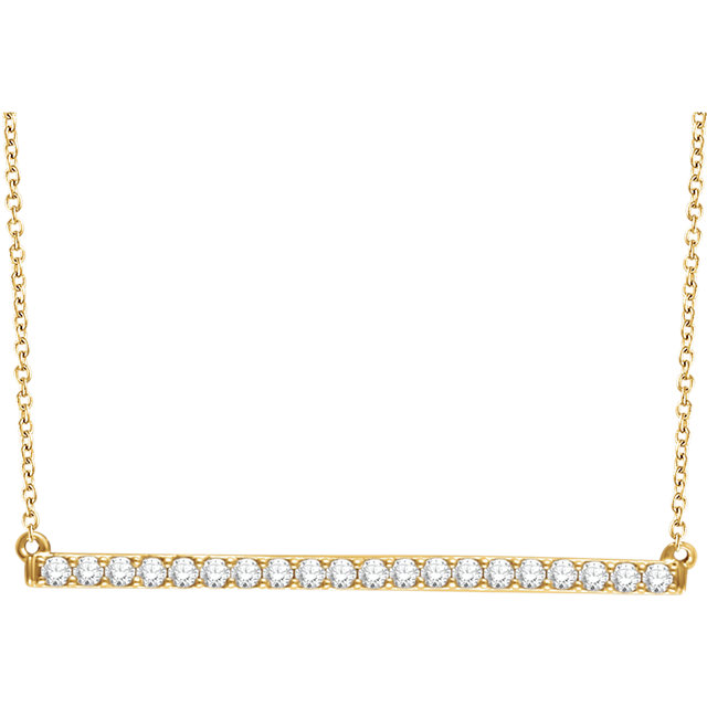 Appealing Jewelry in 14 Karat Yellow Gold 0.50 Carat Total Weight Diamond Bar 16-18