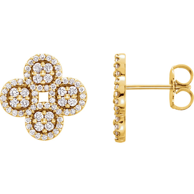 Must See 14 KT Yellow Gold 0.50 Carat TW Diamond Clover Earrings
